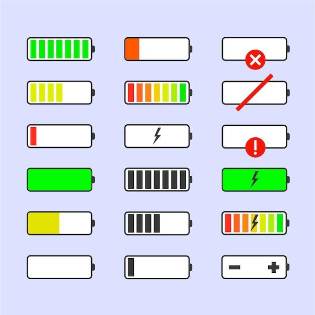 Indicatoren batterijlading. geen signaal Premium Vector