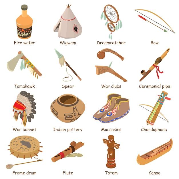 Indiërs etnische amerikaanse pictogrammen instellen. isometrische illustratie van 16 indiërs etnische amerikaanse vector iconen voor web Premium Vector
