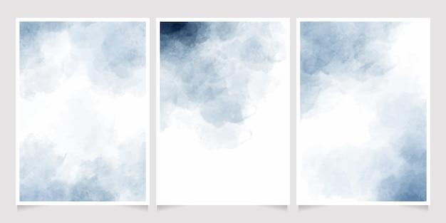 Indigo aquarel nat wassen splash uitnodiging kaartsjabloon collectie Premium Vector