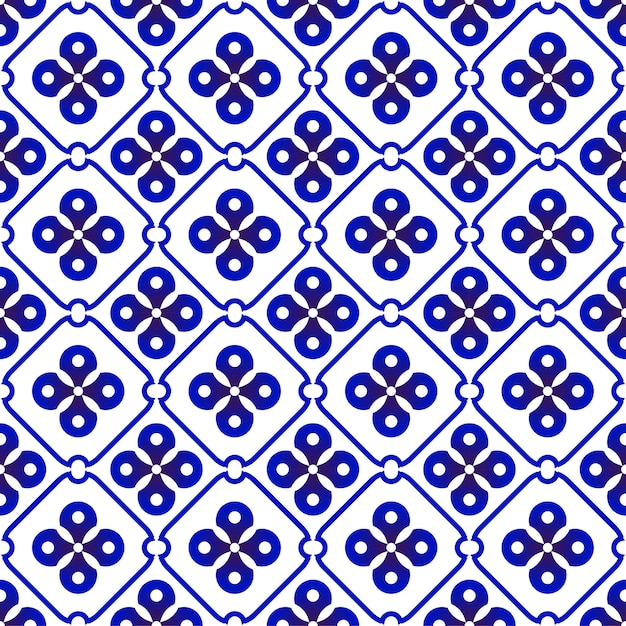 Indigo batik patroon Premium Vector