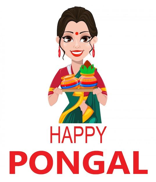Indisch meisje met twee potten, pongal-wenskaart, Premium Vector