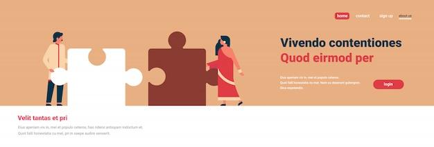 Indisch paar delen van puzzel samenstellen hindoe man vrouw team banner Premium Vector