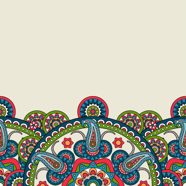 Indische de boho bloemengrens van paisley Premium Vector