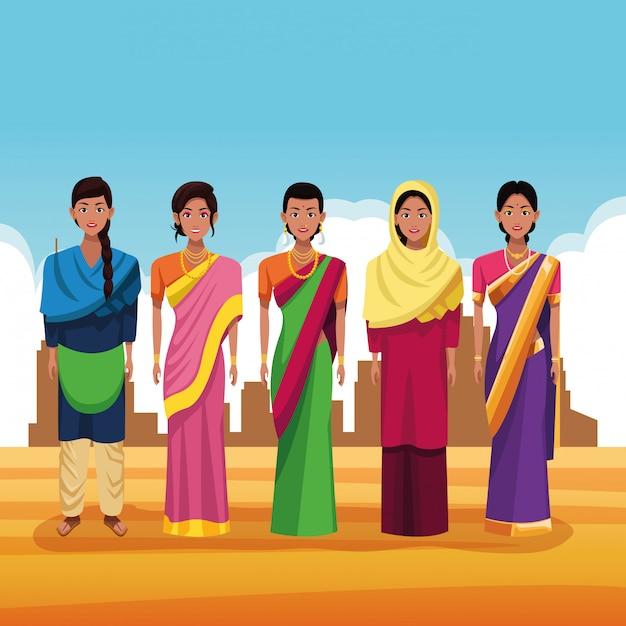 Indische groep van india cartoon Gratis Vector