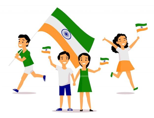 Indische mensen die en tricolor vlaggen houden zwaaien Premium Vector