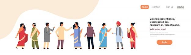 Indische mensen groep dragen nationale traditionele kleding hindoe banner Premium Vector