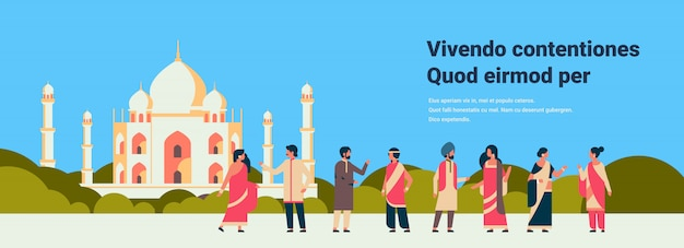 Indische mensen groep dragen nationale traditionele kleding hindoe man vrouw communicatie moslim Premium Vector