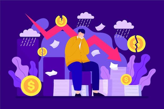 Individuen in een financiële crisis Gratis Vector