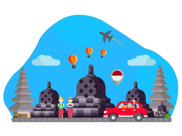 Indonesië landmark vlakke afbeelding Premium Vector
