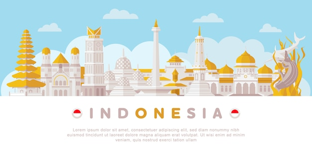 Indonesië landmark Premium Vector