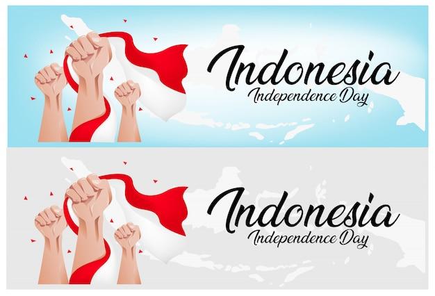 Indonesië onafhankelijkheidsdag achtergrond Premium Vector