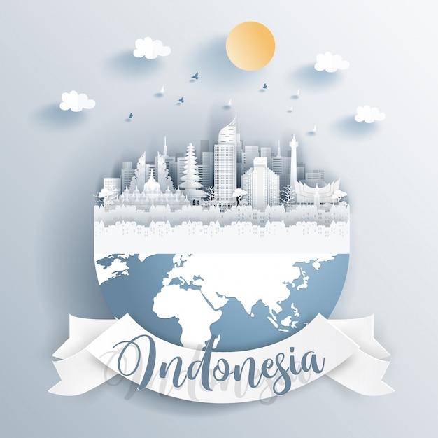 Indonesië oriëntatiepunten op aarde Premium Vector