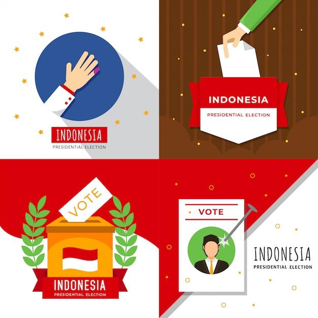 Indonesië president verkiezing illustratie Premium Vector