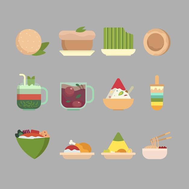 Indonesische eten en snack vlakke afbeelding collectie Premium Vector