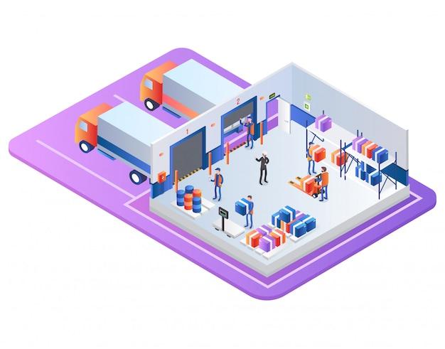 Industrial warehouse distribution company zakelijk Premium Vector