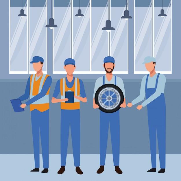 Industrie auto productie cartoon Premium Vector