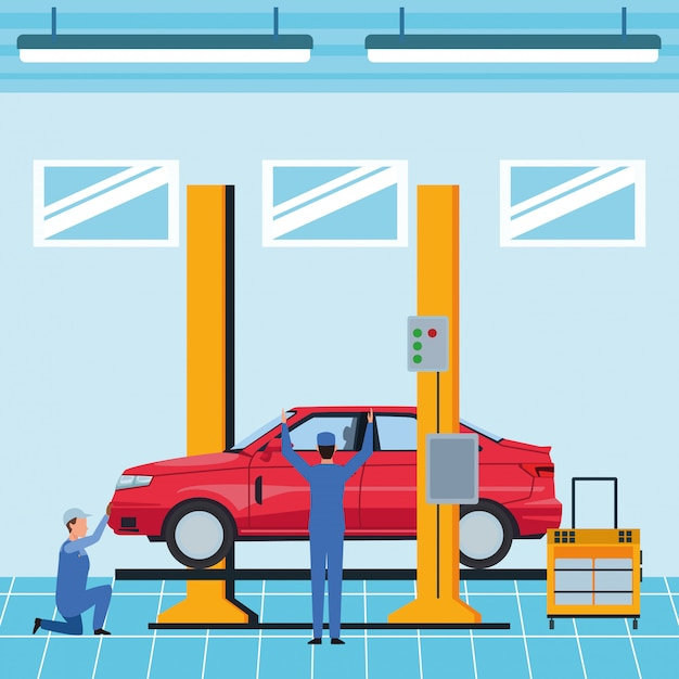 Industrie auto productie cartoon Premium Vector