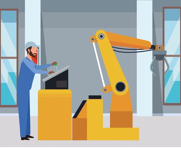 Industrie fabriek cartoon Premium Vector