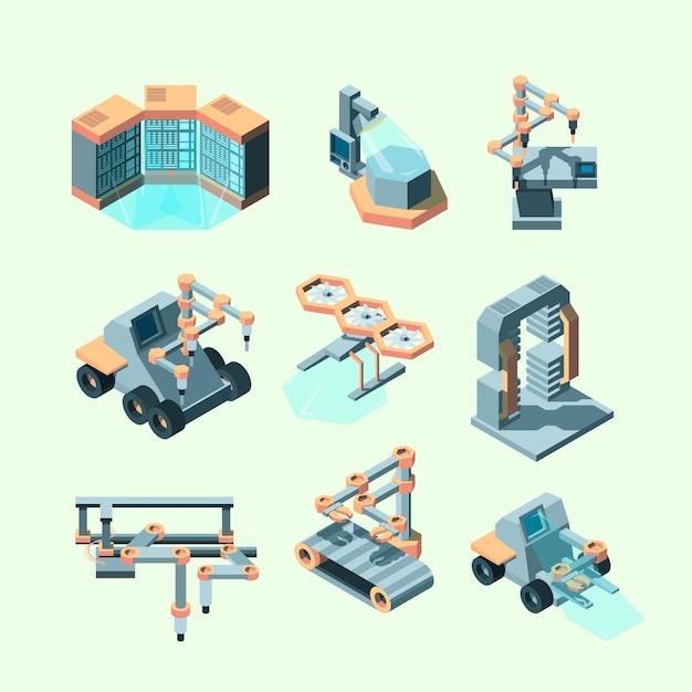 Industrie isometrisch. slimme machines robotachtige afstandsbediening productieprocessen elektronische apparatuur Premium Vector