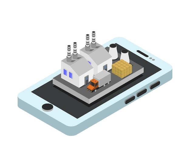 Industrie op isometrische smartphone Gratis Vector