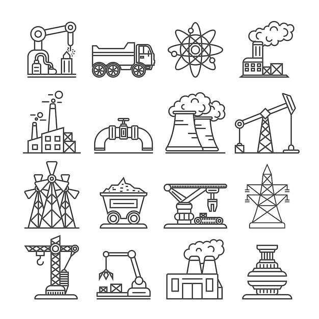 Industrieel gebouw fabriek en elektriciteitscentrale pictogrammen Premium Vector