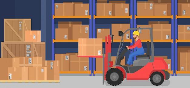 Industrieel modern magazijn interieur met levering dozen planken goederen en pallettrucks. opslag- en logistiekconcept voor vrachtbedrijven. Premium Vector
