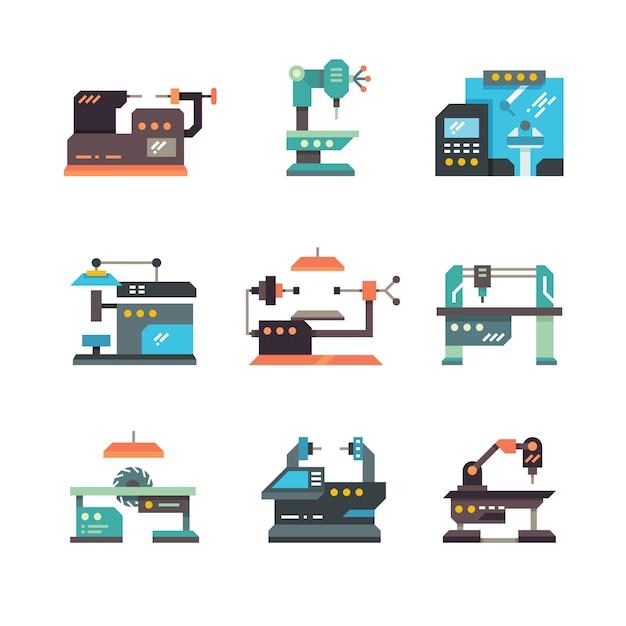 Industriële cnc werktuigmachines en geautomatiseerde machines vlakke pictogrammen Premium Vector