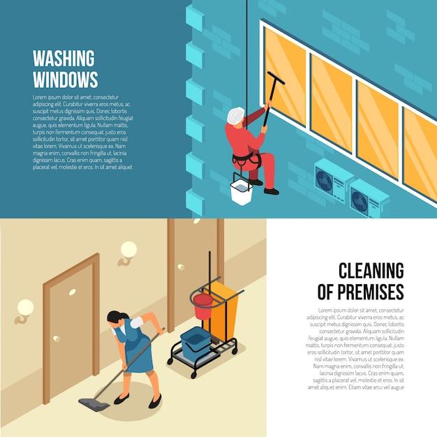 Industriële en commerciële schoonmaakbedrijven die isometrische horizontale banners met buiten en binnenlandse gekwalificeerde de dienst vectorillustratie adverteren Gratis Vector