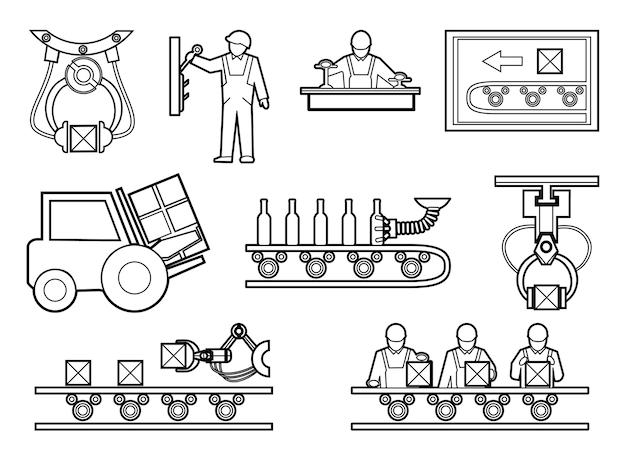 Industriële en productieproceselementen in lijnstijl. Gratis Vector