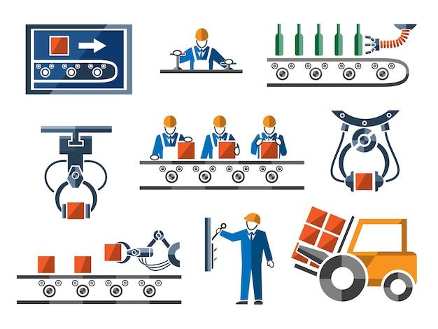 Industriële en technische elementen in vlakke stijl. Gratis Vector