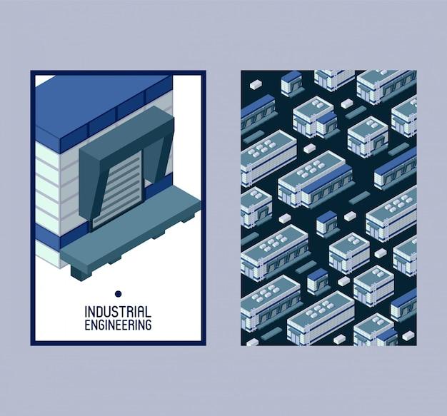 Industriële engineering isometrische bouwset ofs Premium Vector