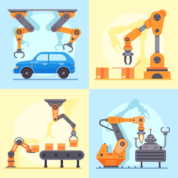 Industriële fabriekstransportband. mechanische arm voor automatisering productiebeheer, set robotarmen Premium Vector
