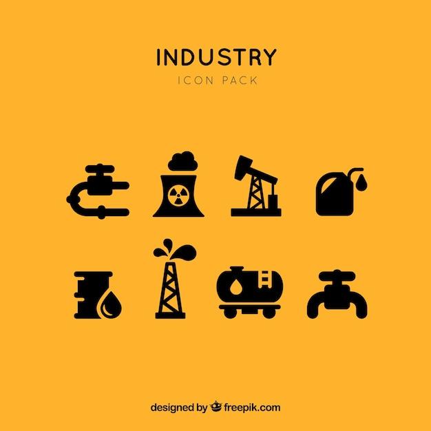 Industriële fossiele brandstoffen pictogram vector set Premium Vector