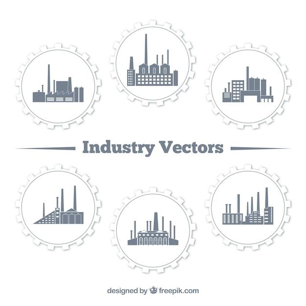 Industriële gebouwen Premium Vector