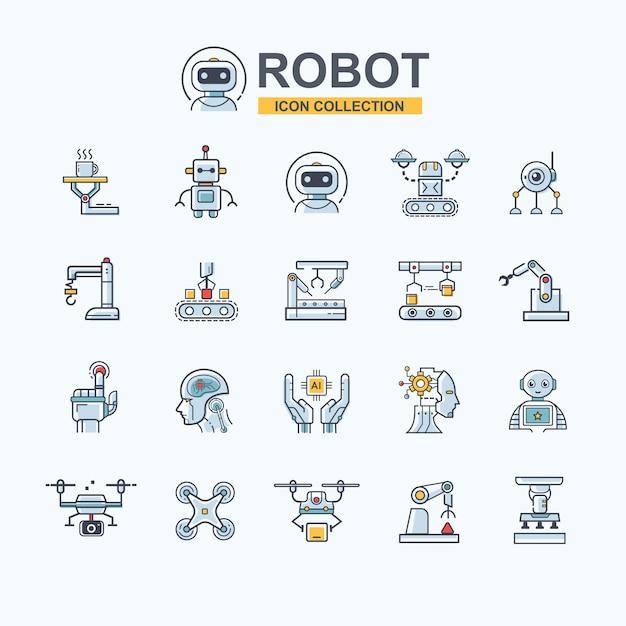 Industriële robot icon set voor bedrijfstechnologie, robotarm, kunstmatige intelligentie, drone en maakindustrie. Premium Vector