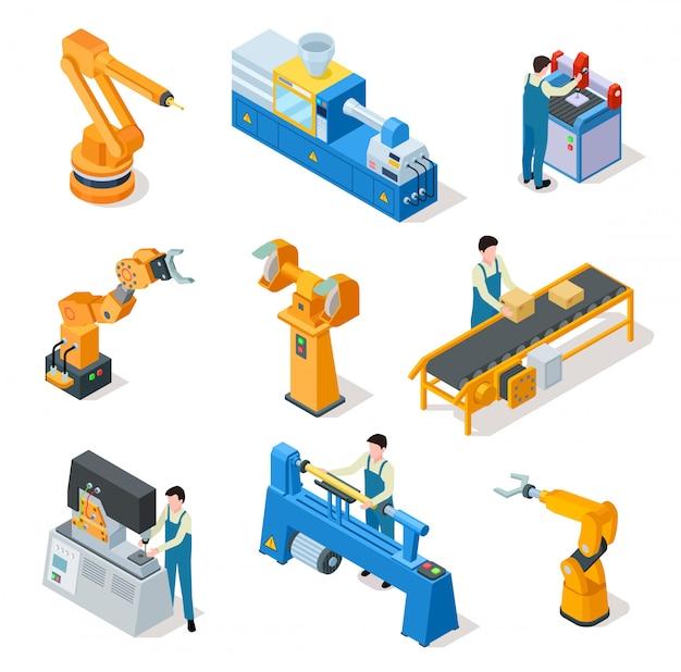 Industriële robots. isometrische machines, assemblagelijnememets en robotarmen met arbeiders. Premium Vector