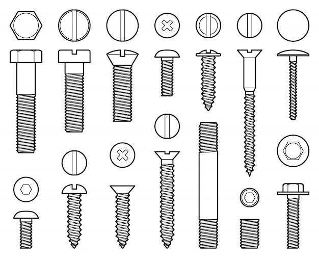 Industriële schroeven bouten, moeren en nagels lijn pictogrammen Premium Vector