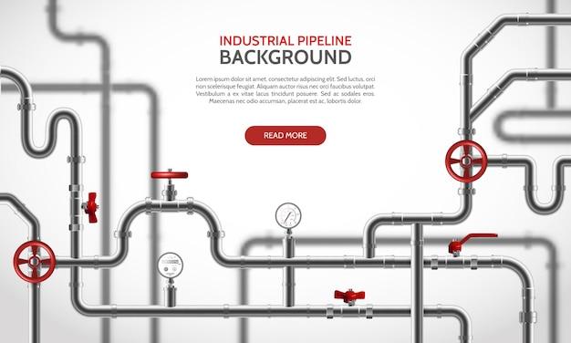 Industriële staalpijpleiding met rode tapkranen realistische vectorillustratie Gratis Vector