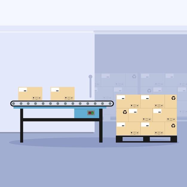 Industriële transportband met palletverpakking Premium Vector