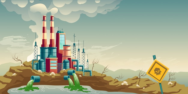 Industriële vervuiling van milieu cartoon vector Gratis Vector