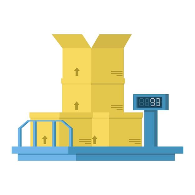 Industriële weegschalen met e-dial en kartonnen dozen. Premium Vector