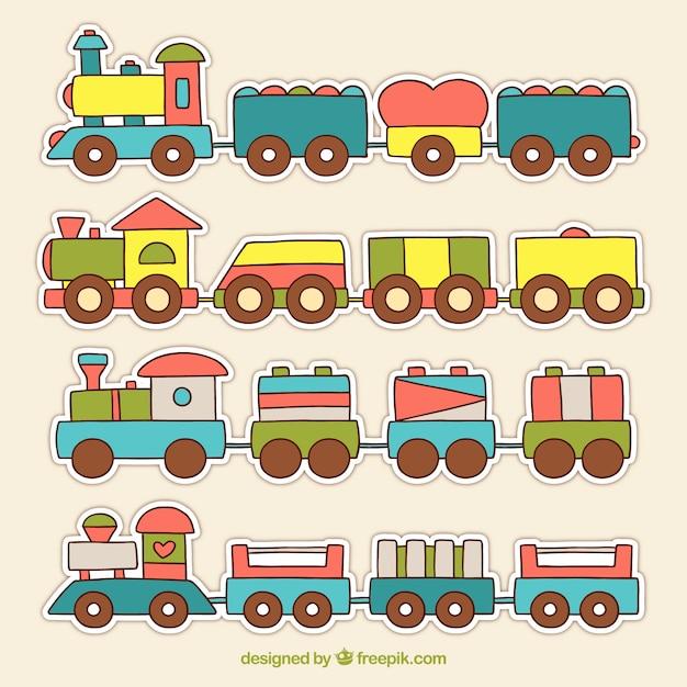 Infantiele treinverzameling Gratis Vector