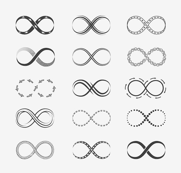 Infinity lijn set. Gratis Vector
