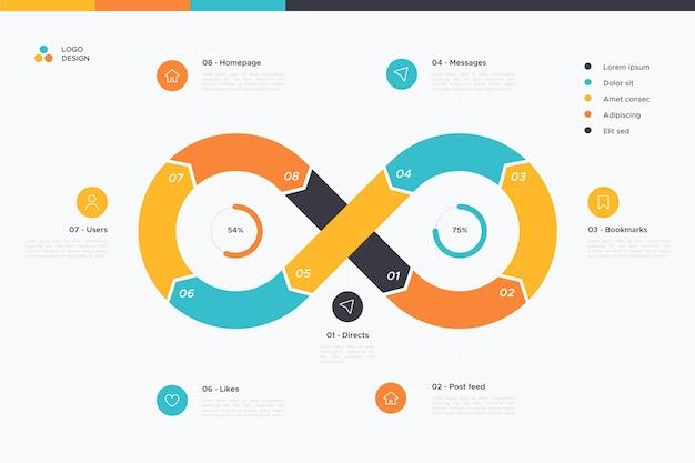 Infinity loop infographic sjabloon Gratis Vector