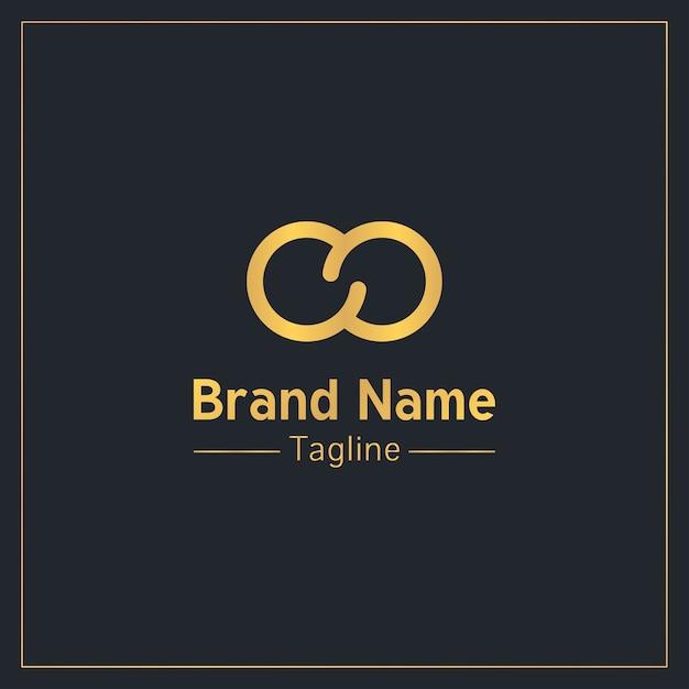 Infinity teken gouden moderne logo sjabloon Premium Vector