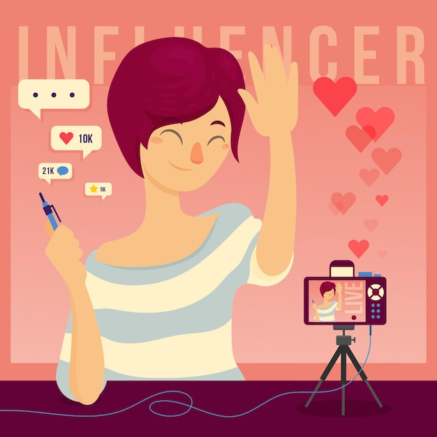 Influencer concept illustratie concept Gratis Vector