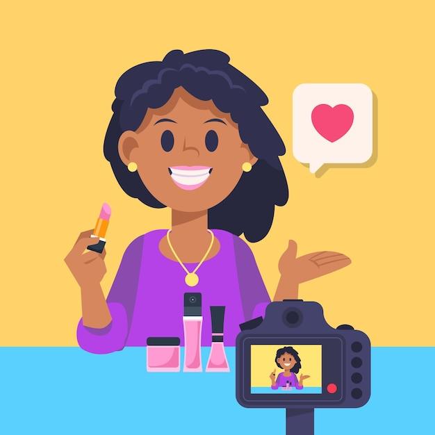 Influencer die nieuwe video-illustratie opneemt Gratis Vector