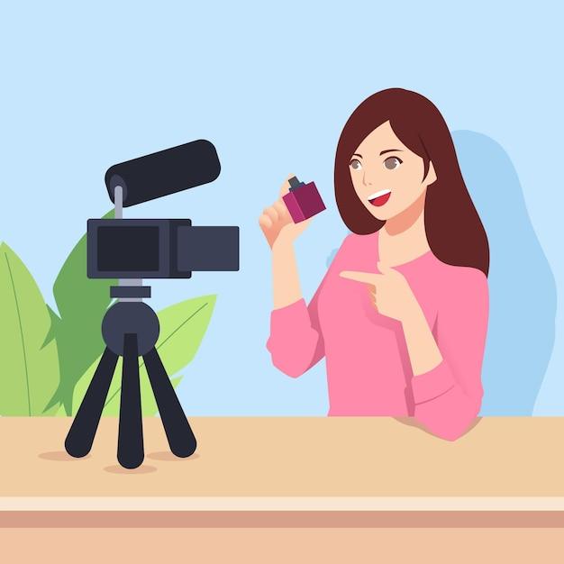 Influencer die nieuwe video met camera opneemt Gratis Vector
