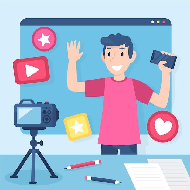 Influencer die nieuwe video opneemt Gratis Vector