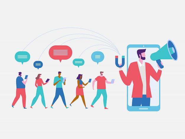 Influencer marketing achtergrond Premium Vector